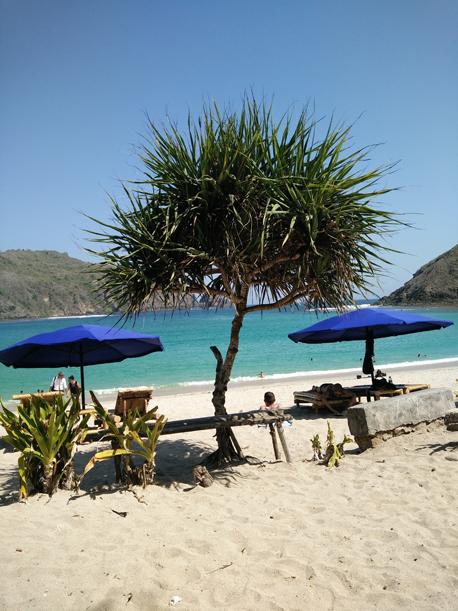 Blue sea water at Mawun Beach, southern part of Lombok Island