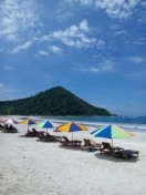 Beautiful white sand and blue sea water at Selong Belanak Beach
