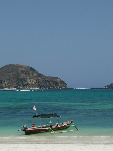 Boat at Tanjung Aan Beach, south Lombok
