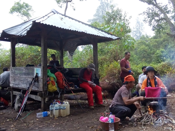 Campsite at Pos 3 on Mount Tambora summit trekking