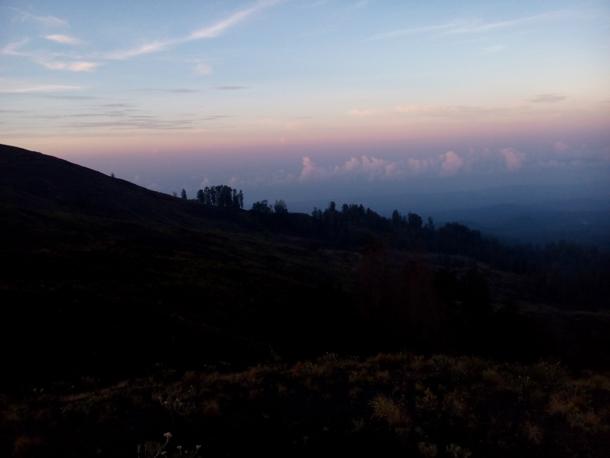 Sunrise view from Mount Tambora crater rim