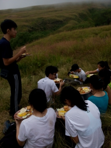 Lunch at Pos 2 on Mount Rinjani trek lombok, Indonesia