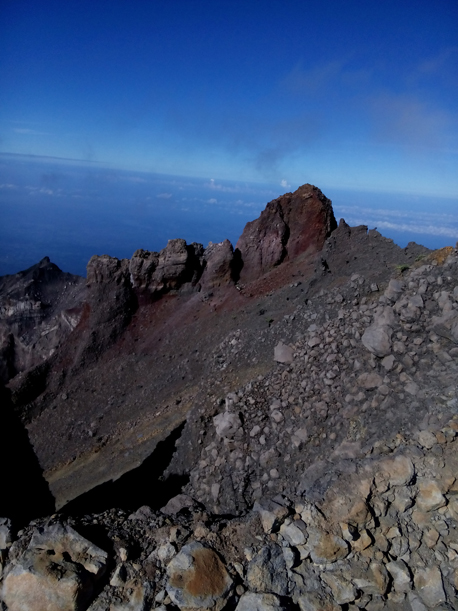 The view from summit of Mount Rinjani Lombok