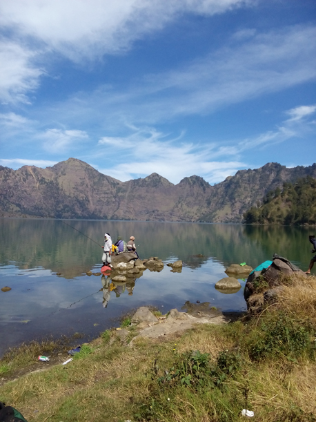 The view of Segara Anak Lake from campsite