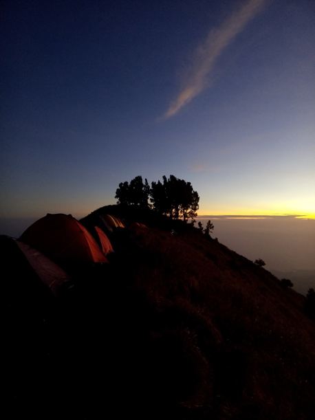 Wonderful sunset at Sembalun Crater Rim campsite