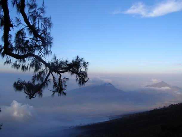 The view from Sembalun Crater Rim on Mount Rinjani trekking