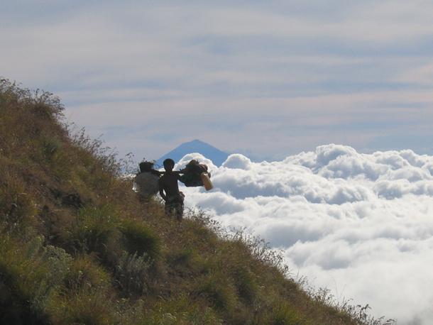 The porter of Mount Rinjani Trek
