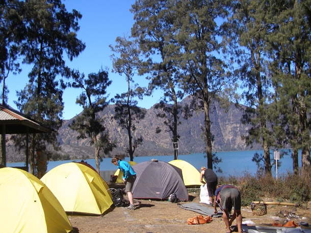Campsite site are on the Lake of Mount Rinjani Lombok