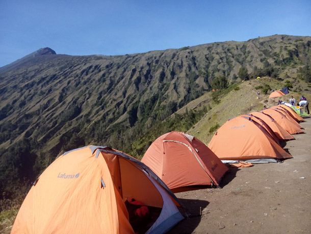 Campsite on Sembalun Crater rim 2639M on Mount Rinjani trek