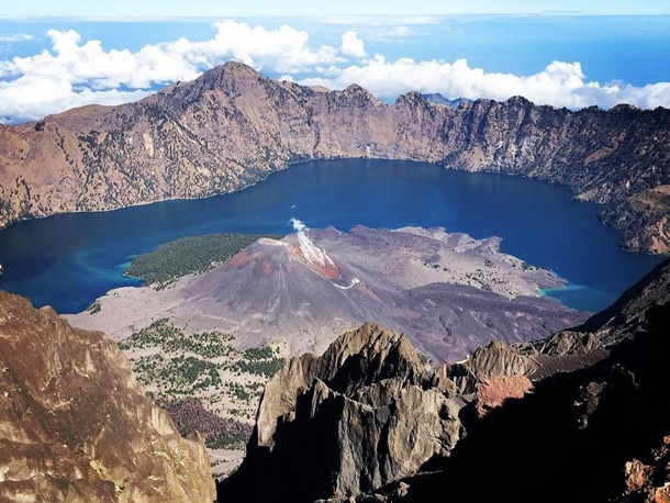 View from the summit of Mount Rinjani 3726 M above sea level