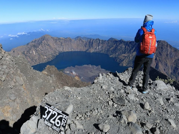 At the top of Mount Rinjani 3726M above sea level
