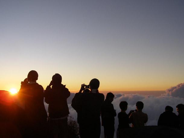 Sunset view from Senaru Crater Rim on Mount Riinjani Trekking
