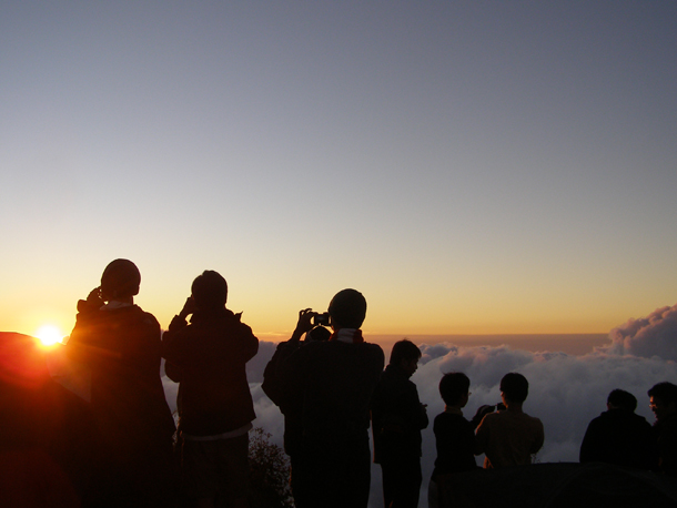 Sunset view from Senaru Crater Rim campsite, Mount Rinjani Lombok