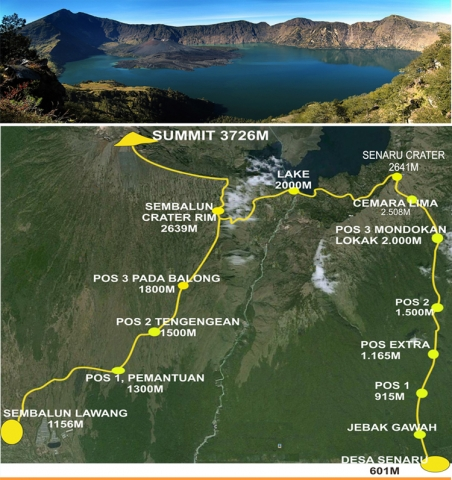 Mount Rinjani trek start from Sembalun Lawang village and Senaru Village