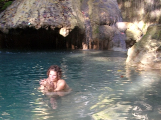 swimming at Jereweh waterfall, taliwang sumbawa barat