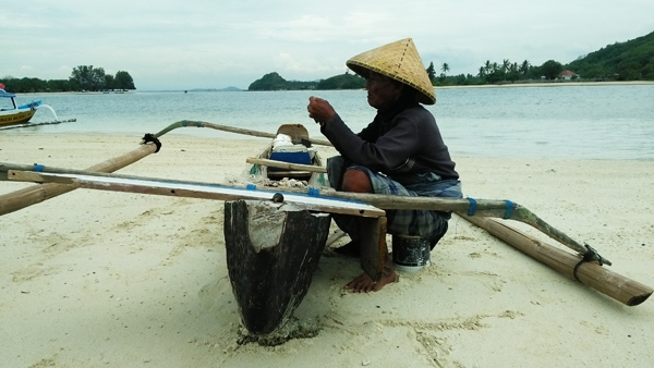 Fisherman at Sekotong Beach, Lombok